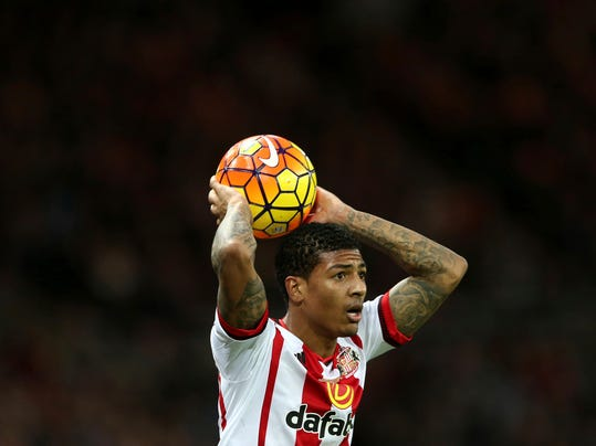 FILE - A Saturday, Jan. 23, 2016 file photo showing Sunderland's Patrick Van Aanholt during the English Premier League soccer match between Sunderland and Bournemouth at the Stadium of Light, Sunderland, England. Crystal Palace has signed Patrick van Aanholt from Sunderland as manager Sam Allardyce turned to his former club to strengthen his defensive options in the fight against Premier League relegation. (AP Photo/Scott Heppell, File)
