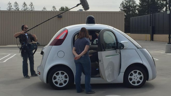 Google's self-driving prototype was introduced to a global media scrum at Google X, the building where the search company conducts its moonshot research.