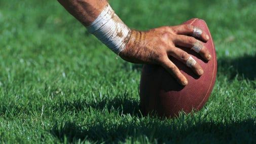 Football center ready to snap ball