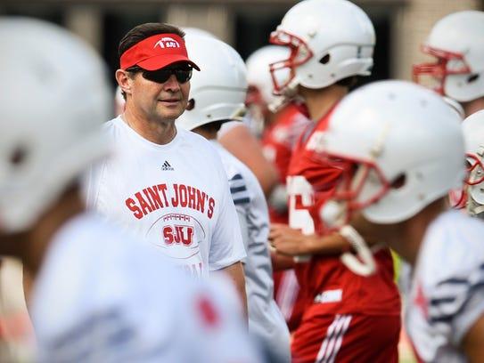 St. John's head coach Gary Fasching watches players