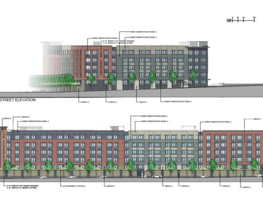 A rendering of the five-story, 254-unit apartment building proposed at the former Oritani Field Club site.