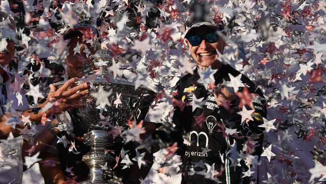 September 17, 2017; Sonoma, CA, USA; IndyCar Series driver Josef Newgarden (2) celebrates winning the IndyCar Series championship during the GoPro Grand Prix of Sonoma at Sonoma Raceway.
