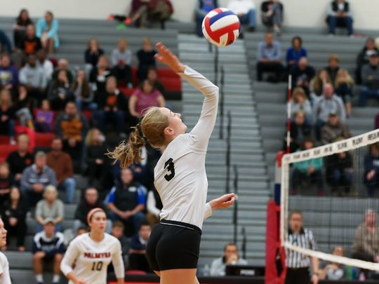 Palmyra's Melanie Sheaffer goes for the ball in the