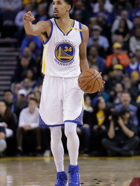 FILE - In this Wednesday, Jan. 4, 2017, file photo, Golden State Warriors' Shaun Livingston (34) dribbles during the second half of an NBA basketball game against the Portland Trail Blazers in Oakland, Calif. JaVale McGee will never call himself a journeyman in describing his rugged professional path. Yet McGee must not look far to find an example of someone else who has learned to thrive as a well-traveled NBA role player: just a quick glance a couple of lockers down to where Livingston dresses each night at Oracle Arena. (AP Photo/Marcio Jose Sanchez, File)