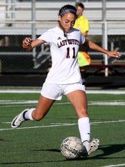 Wichita Falls High School's Janae Sanchez kicks the