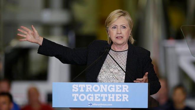 Hillary Clinton speaks to a crowd in Warren, Mich. on Thursday.