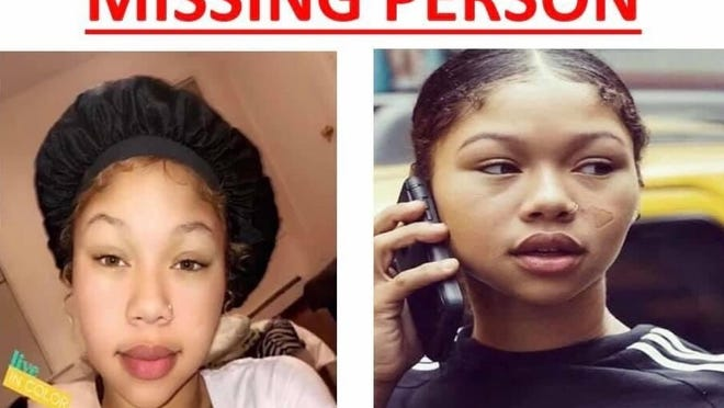 Photos on a missing person flyer of Jalajhia Finklea, an 18-year-old who was last seen in New Bedford on Oct. 20, 2020.