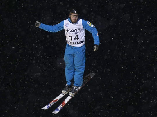 Jonathon Lillis competes in the men's freestyle World Cup aerials competition in January in Lake Placid.