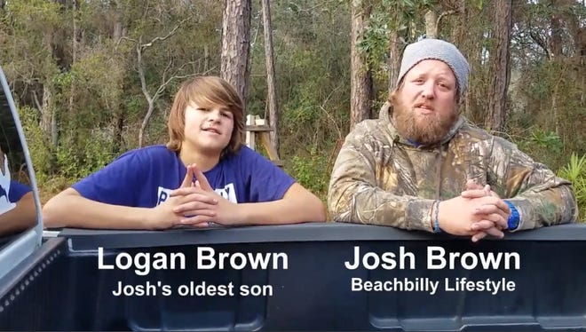 """A screen grab from """"The Beachbilly Lifestyle Show"""" shows Josh Brown and his son, Logan, talking during one of the show's episodes."""