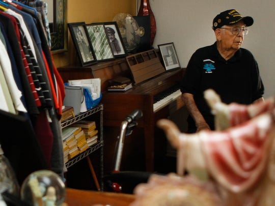 Chapito Chavarria, a Valley bandleader who will turn 100 on April 7, sits in his son's home, where he now lives in Litchfield Park. Chavarria will be recognized at the Musical Instrument Museum to mark his birthday. Chavarria's band  played at local lounges and weddings.