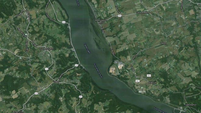 Google Maps shows the Susqehanna River in the area around Long Level.