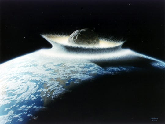 Artist's opinion of a catastrophic asteroid affect