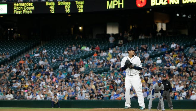 Seattle Mariners starting pitcher Felix Hernandez in action against the Kansas City Royals in a baseball game Monday, June 22, 2015, in Seattle.