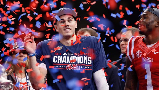 Mississippi quarterback Chad Kelly (10) celebrates on stage Jan. 1 after Ole Miss beat Oklahoma State in the Sugar Bowl in New Orleans. Kelly said Monday he will return to Mississippi for his senior season.