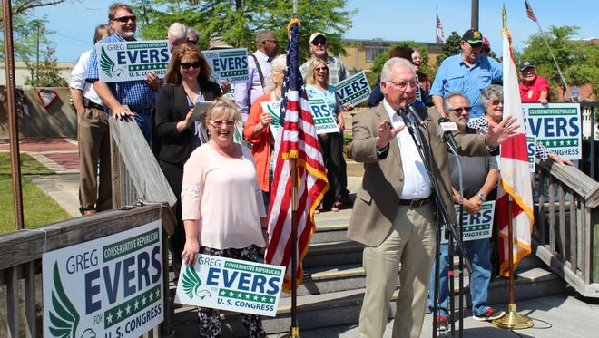 Sen. Greg Evers announced his candidacy for Congress TUesday morning in Milton.