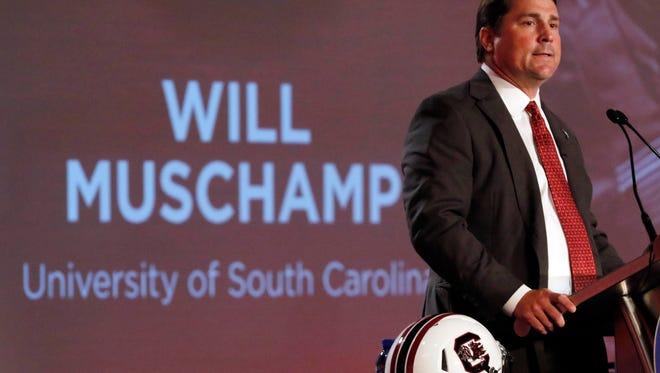 South Carolina head coach Will Muschamp speaks to media during SEC media day at Hyatt Regency Birmingham-The Wynfrey Hotel Tuesday morning in Hoover, Ala.