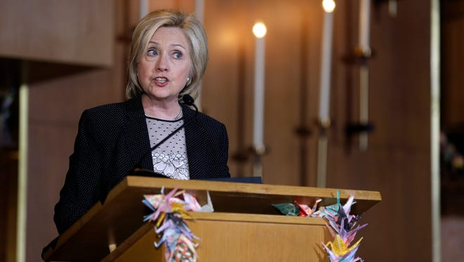Democratic presidential candidate Hillary Rodham Clinton speaks during a campaign stop at Christ the King United Church of Christ, Tuesday, June 23, 2015, in Florissant, Mo. A discussion of this speech in which Mississippi House Speaker Philip Gunn's call for a new state flag was mentioned came to light as part of the John Podesta emails released by WikiLeaks in October 2016.