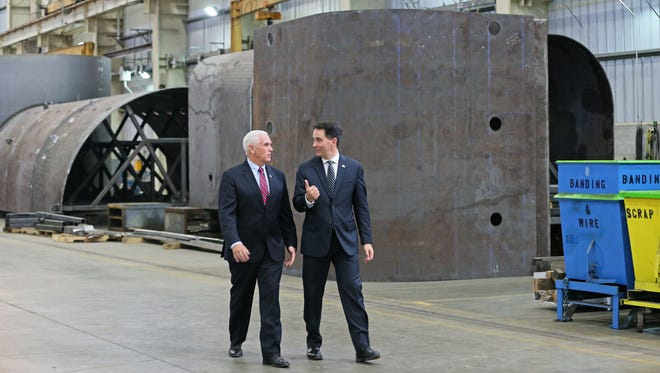 Vice President Mike Pence and Gov. Scott Walker tour the Weldall plant.