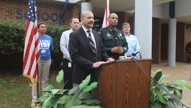 Superintendent Rocky Hanna and Sheriff Walt McNeil held a joint press conference at Fairview Middle School to address safety in Leon County Schools, in the wake of a school shooting at Stoneman Douglas High in Broward County last month.