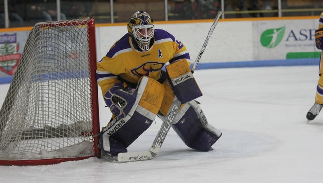 Senior goaltender Max Milosek has helped the Pointers to a 20-5-3 record.