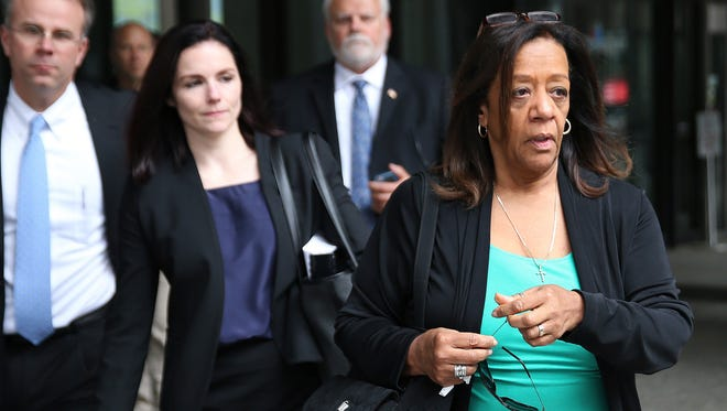 Barbara Byrd-Bennett leaves the Dirksen U.S. Courthouse in Chicago on Friday, April 28, 2017, after being sentenced for her role in a bribery scandal. The former head of Chicago Public Schools was sentenced to more than four years in prison on Friday for steering $23 million in city contracts to education firms for a cut of more than $2 million in kickbacks. (Terrence Antonio James/Chicago Tribune via AP)