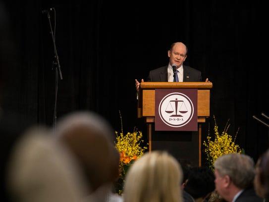 U.S. Senator Chris Coons speaks during the Delaware