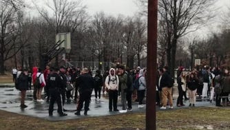 The Hudson County Sheriff's Office called for assistance due to a crowd of approximately 150 young people gathering in response to a Tweet from an aspiring rapper.