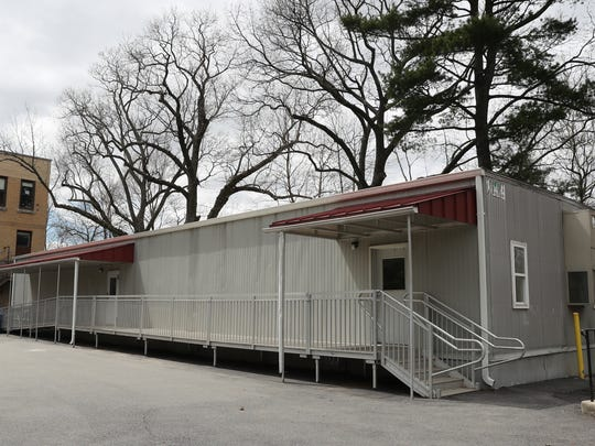 Portable classroom space outside at  Hutchinson Elementary School in Pelham. Wednesday, April 18, 2018.