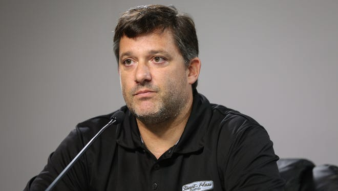 Tony Stewart addresses the media Friday at Atlanta Motor Speedway.
