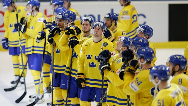 Sweden players at the world championships in the Czech Republic.