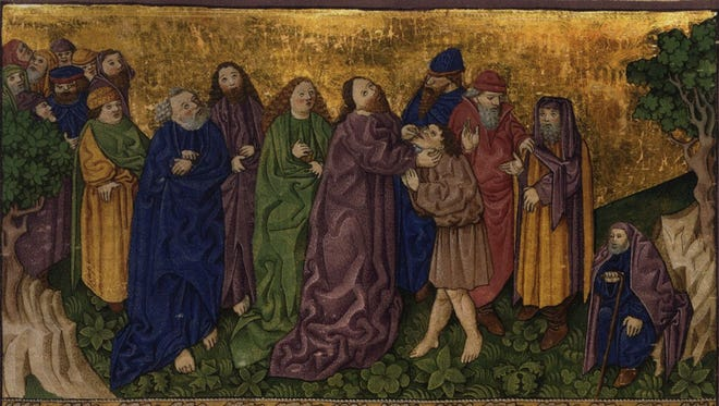 A 15th century Bible illustration depicts Jesus healing the deaf mute.
