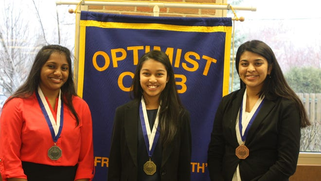 Winners in the 2016 girls' oratorical contest were Riya Shah (from left), second place; Kavina Sheth, first place; and Yashasvini Nannapuraju, third place.