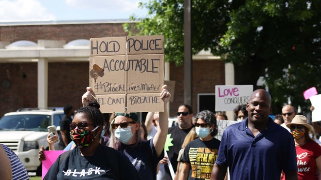 From chants of Black lives matter and no justice, no peace, hundreds of protesters marched down Queen Street Monday afternoon, June 1, as they advocated for George Floyd.