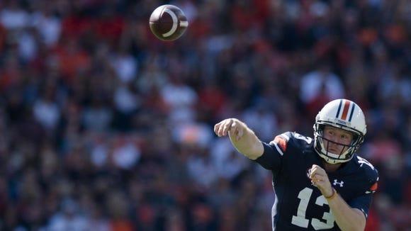 Auburn quarterback Sean White throws a pass against Vanderbilt.