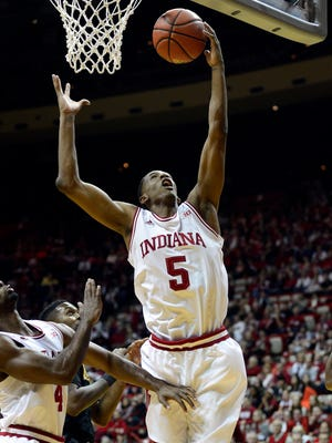 Indiana Hoosiers forward Troy Williams (5) goes up for a shot against the Kennesaw State Owls at Assembly Hall.