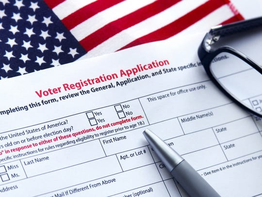Voter registration application with flag of United States of America