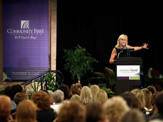 Dr. Ann McKee speaks during the Women's Fund Luncheon