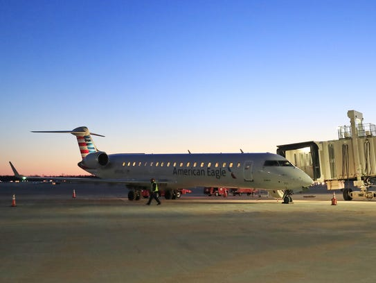 A Bombardier CRJ 700 series jet flown by American Eagle arrives at Green Bay Austin Straubel International Airport. American, Delta and United are each adding larger aircraft to routes serving the airport.