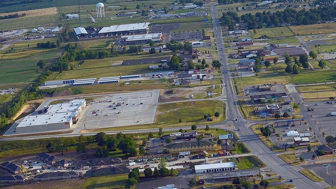 An aerial shot of Kirksville taken in July 2018 shows commercial business expansion on North Baltimore Street.