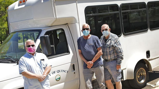 From left, Rick Spencer, Joe Losi and Jim Shields. Quincy Council on Aging van drivers who have continued to transport seniors to and from medical appointments during the pandemic on Tuesday June 16, 2020 Greg Derr/The Patriot Ledger