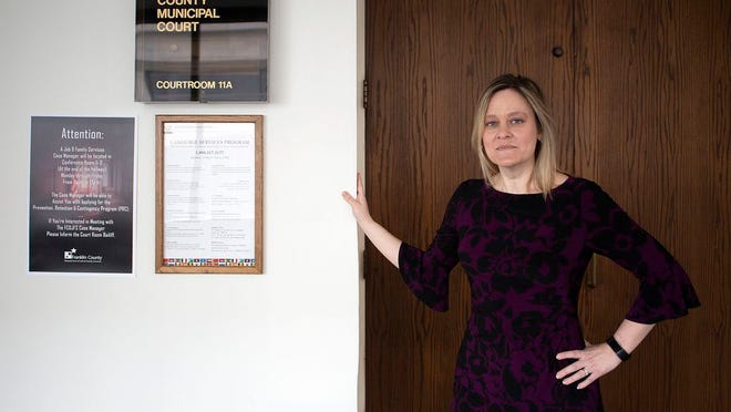 Legal Aid Society of Columbus attorney Melissa Benson, pictured at Franklin County Municipal Court in 2018. Earlier this month, Benson and her colleagues won their appeal in the Tenth District Court of Appeals, which ruled that landlords must be present at eviction proceedings.