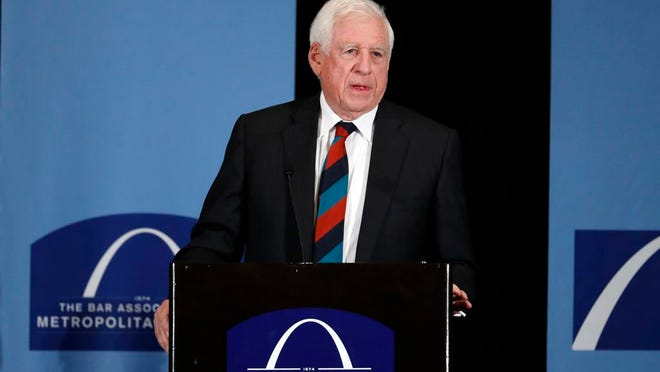 "FILE - In this May 5, 2017 file photo, former U.S. Sen. John Danforth speaks at the Bar Association of Metropolitan St. Louis in St. Louis. Danforth is critical of efforts by Sen. Josh Hawley, of Missouri, and others in Congress to challenge Democrat Joe Biden's election win. Danforth, a former three-term senator from Missouri, called the effort a ""highly destructive attack on our constitutional government."" Danforth has previously been a long-time supporter of Hawley, backing his successful runs for Missouri attorney general in 2016 and the U.S. Senate in 2018."