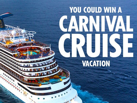 Enter for a chance to win a Carnival Cruise vacation! Enter 11/29 - 12/29.