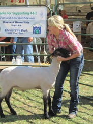 Sammy Weber of Harrison, Ohio, shows her market sheep