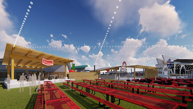 Renderings of the new Klement's Sausage and Beer Garden on the grounds of the Henry Maier Festival Park. Local acoustic acts will play in the venue 2 to 8 p.m. daily at Summerfest. The venue features a picnic area, stage and concession stand. Construction is due to be finished in time for 2018 Summerfest.