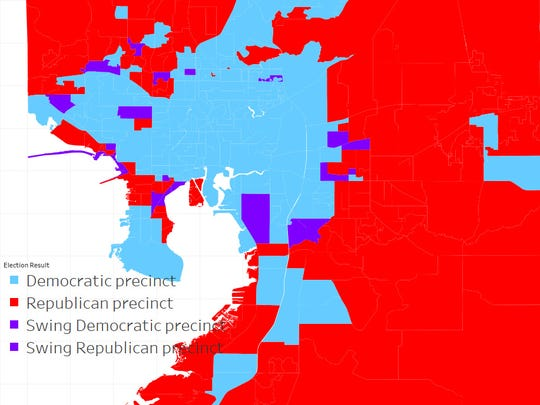 Hillsborough County, 2014 governor's race election results by precinct. Red precincts voted Republican, blue precincts voted Democratic and purple precincts had a margin of 2 percent or less. Source: Hillsborough County Supervisor of Elections