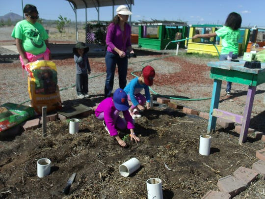 Children take part in planting at the Hidalgo County