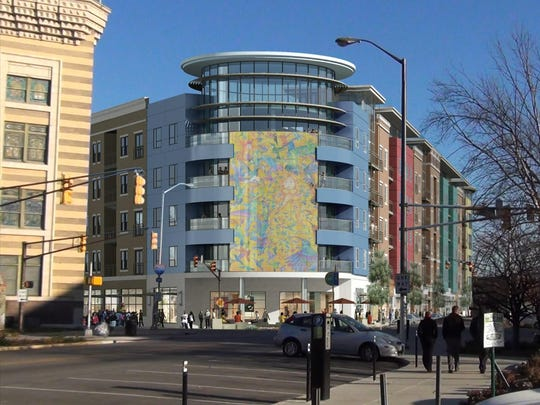 A rendering of the proposed electronic display to be used for art, part of the five-story mixed-use development Montage on Mass.