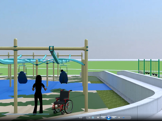 A screenshot of the wheelchair accessible zipline, one of the many unique features of Jojo's Jungle.