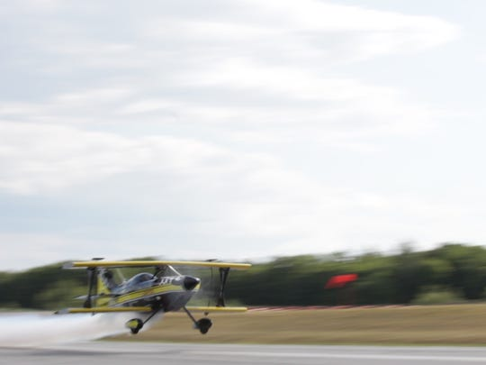 Dan Marcotte of Dan Marcotte AirShows flies at the Franklin County State Airport. He said he was giving a short preview of the routine has scheduled for the Wings Over Vermont air show scheduled for Aug. 13-14 in Burlington.